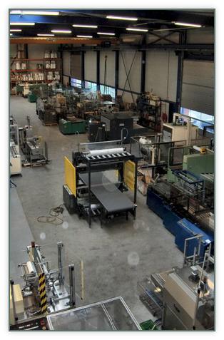 Top view of the hall with the stock of used packaging machinery.